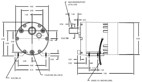 Dayton Model 1LPL6 Gear Motor 60 RPM 1/10 hp 115V (3M138)