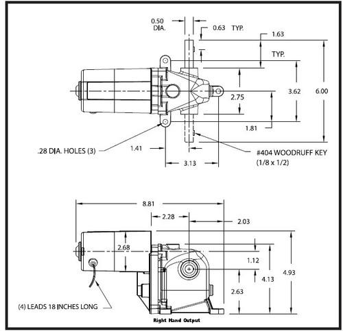 Dayton Model 1LRA5 AC/DC Right Hand Gearmotor 8 RPM 1/15