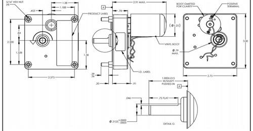 Dayton Model 52JE54 DC Gear Motor 50 RPM 1/125 hp 12VDC