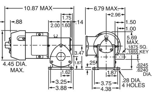 Dayton Model 1XFZ2 Gear Motor 86 RPM 1/8 hp TEFC 115V