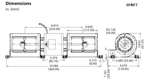 Dayton Model 3FRF7 Low Profile Blower 230V for Fireplace