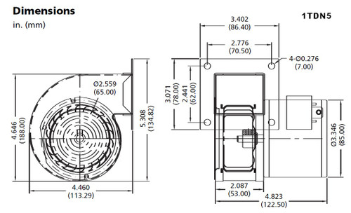 Dayton Blower Model 1TDN5 54 CFM 3340 RPM 115V 60/50hz (4C012)