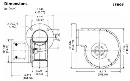 Dayton Model 3FRG5 Blower 57 CFM 3470 RPM 12VDC