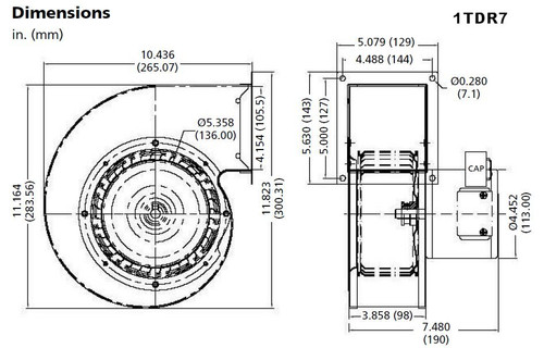 Dayton Model 1TDR7 Blower 485 CFM 1650 RPM 115V 60/50hz