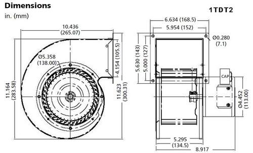 Dayton Model 1TDT2 Blower 549 CFM 1640 RPM 115V 60/50hz