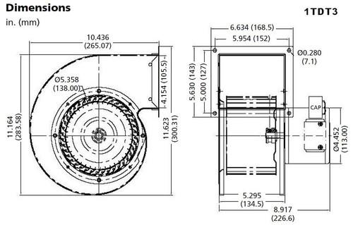 Dayton Model 1TDT3 Blower 449 CFM 1600 RPM 230V 60/50hz