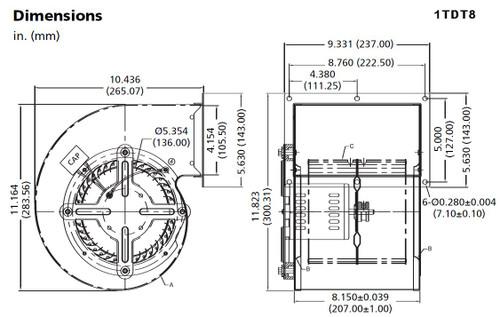 Dayton Model 1TDT8 Blower 797/549 CFM 2-speed, 1360 RPM