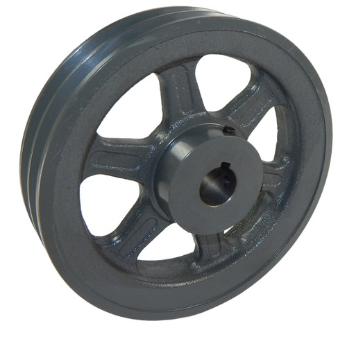 "2AK56X1-1/8 Pulley | 5.45"" X 1-1/8"" Double Groove AK Fixed Bore Pulley"