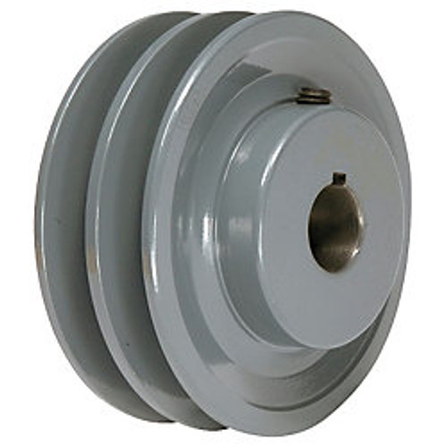 "2BK40X1 Pulley | 3.95"" x 1"" Double V Groove Pulley / Sheave"