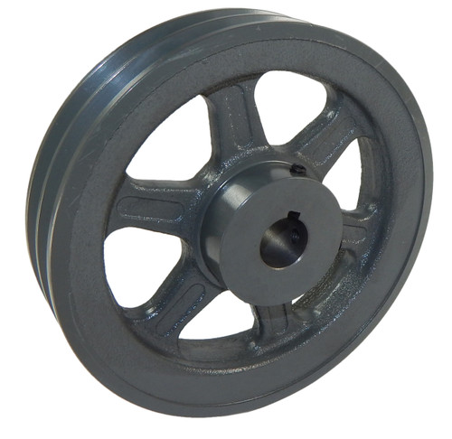 "2BK60X3/4 Pulley | 5.75"" x 3/4"" Double V Groove Pulley / Sheave"