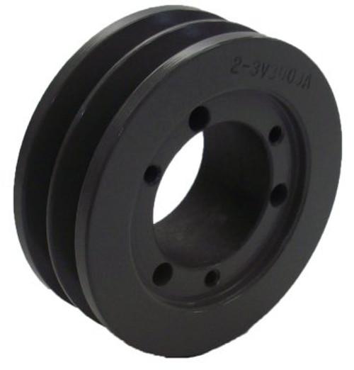 "2.35"" OD Double Groove Pulley / Sheave for 3V Style V-Belt (bushing not included) # 2-3V235-JA"