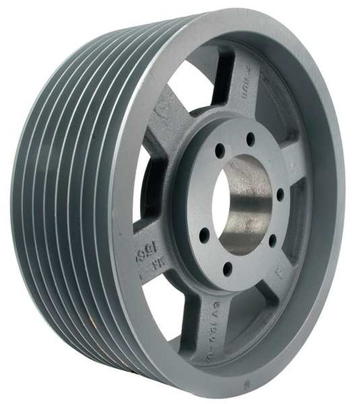 "8-3V500-SK Pulley | 5.00"" OD Eight Groove Pulley / Sheave for 3V Style V-Belt (bushing not included)"