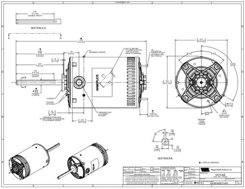 H667V1 Century Condenser Fan Motor 6 1/2