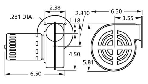 Centrifugal Blower 115V Fasco # 50748-D500 (Dayton Reference 4C443, 1TDP3)