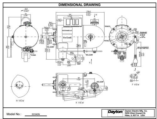Oscillating Pedestal Fan Motor 2 2hp 1075 Rpm 115v   5c040