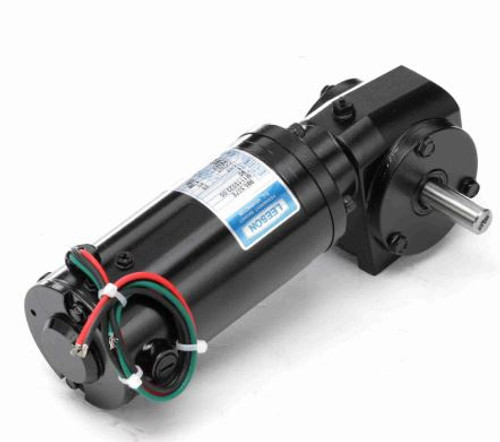 M1115022.00 Leeson |   Right Angle 1/17 hp, 500 RPM 90 Volts DC TENV Electric Gear Motor