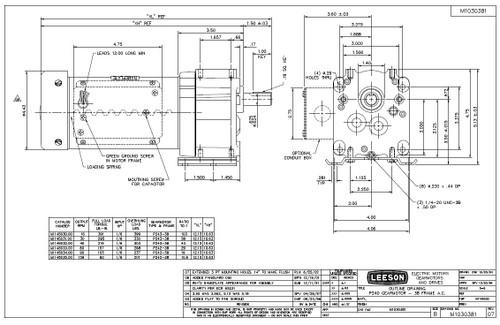 Leeson Parallel Shaft 1/6 hp, 40 RPM TEFC 115/230V