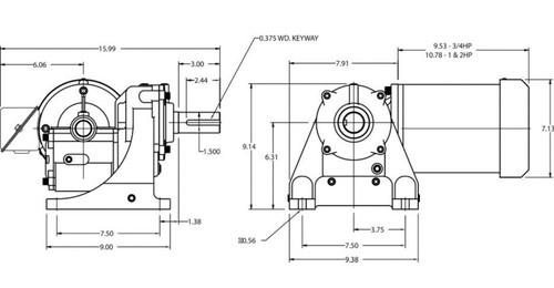 4FDY4 Dayton Gear Motor 1 hp 30 RPM 203-230/460 Volt 3 Phase