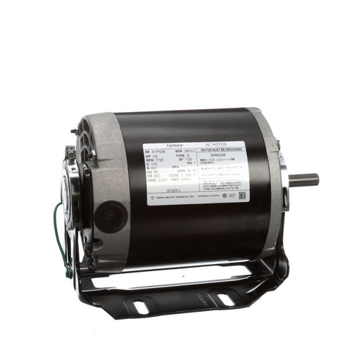 GF2031L Century 1/3 hp 1725 RPM 56Z Frame 115V Belt Drive Blower Motor Century # GF2031L