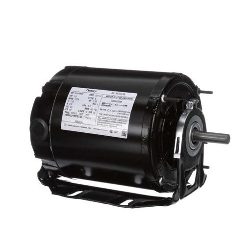 RB2034 Century 1/3 hp 1725 RPM 48 Frame 115V Belt Drive Furnace Motor Ball Brg. Century # RB2034