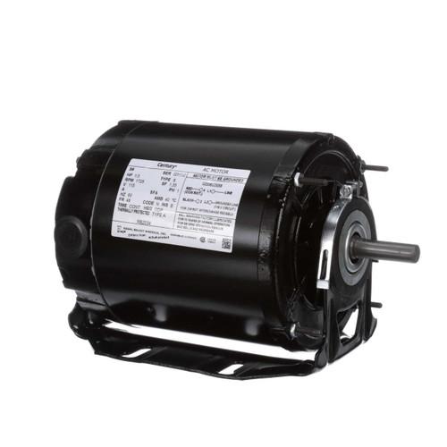 RB2034L Century 1/3 hp 1725 RPM 48 Frame 115V Belt Drive Furnace Motor Ball Brg Century # RB2034L