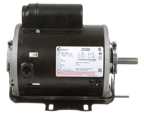 C634V1 Century 1/2 hp 1725 RPM 56 Frame 115/208-230V Belt Drive Cap Start Blower Motor