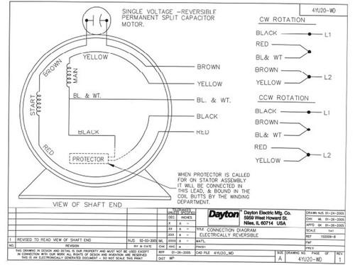 1/4 HP Direct Drive Blower Motor 860 RPM 115V Dayton # 4YU20 Dayton Electric Motor Hp V Wiring Diagram on