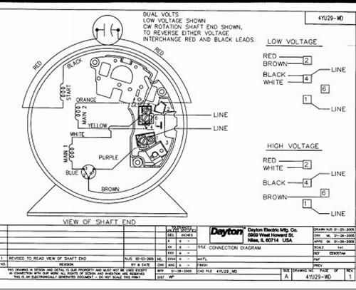 3/4 HP Direct Drive Blower Motor 1725 RPM 115/230V Dayton # 4YU29 Dayton Motor Wiring Diagram on