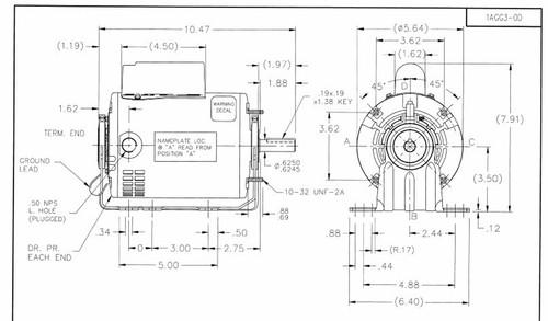 1/2 hp Belt Drive Blower Cap Start Motor 1725 RPM 115/208