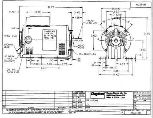 3/4 hp Belt Drive Blower Cap Start Motor 1725 RPM 115/208