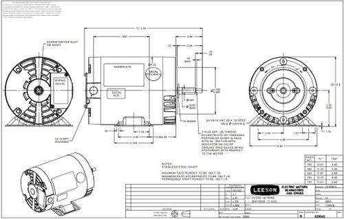 1.5 hp 1800 RPM 56J Frame ODP C-Face (Rigid Base) 230/460V