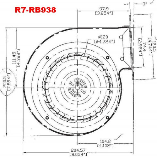 R7-RB938 Rotom Replacement Blower 287 CFM for Profab