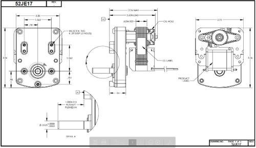 Dayton Model 52JE17 AC Parallel Shaft Gear Motor 4 RPM 1