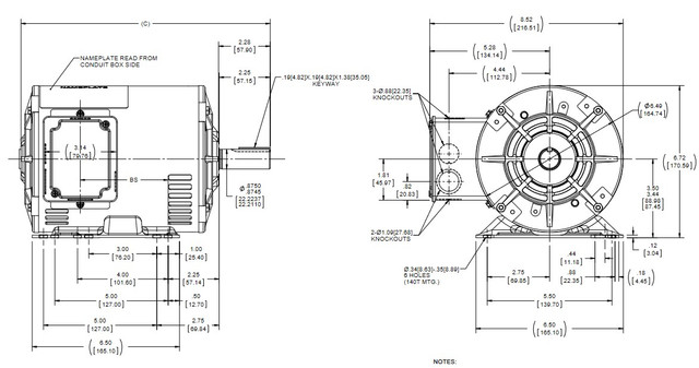 E914A Marathon 2 hp 1800 RPM 575V 3-Phase 145T Frame ODP