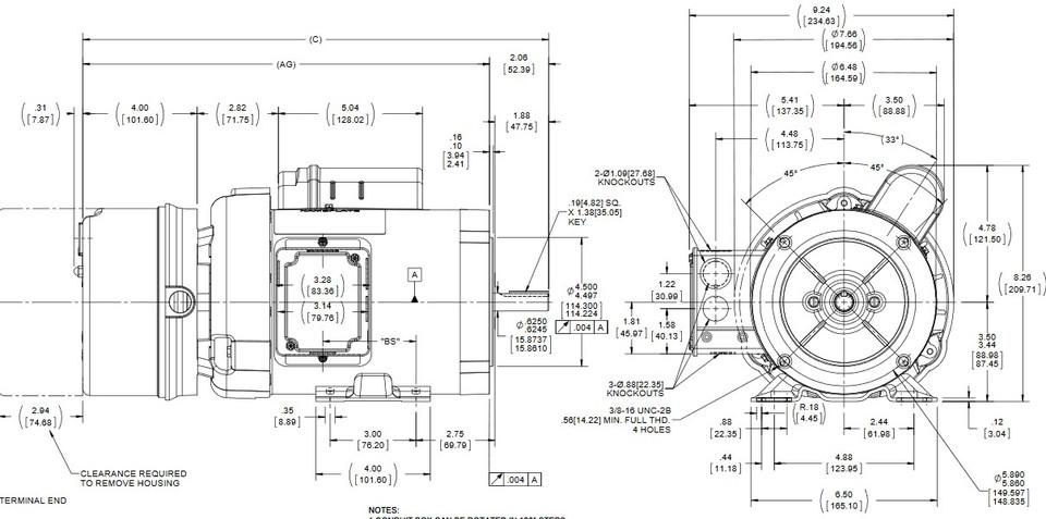 D401 Marathon 1/2 hp 1800 RPM 56C Frame 115/208-230V