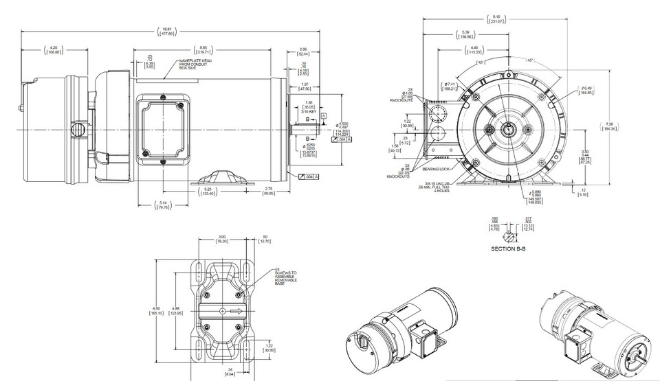 D456A Marathon 1 hp 3 phase 1800 RPM 56C Frame 230/460V