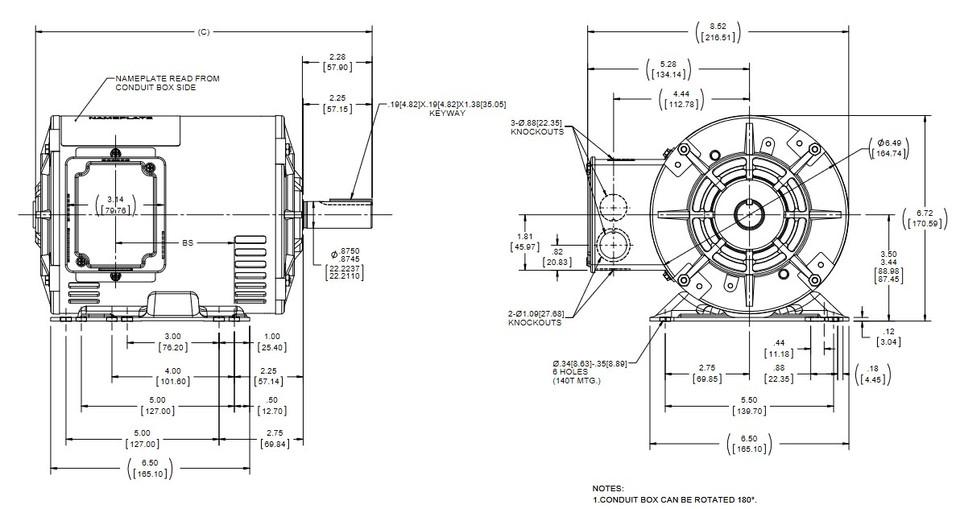 E913A Marathon 1 1/2 hp 1800 RPM 575V 3-Phase 145T Frame
