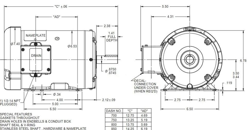 N312A Marathon 2 hp 1800 RPM 230/460V 3-Phase 145T Frame