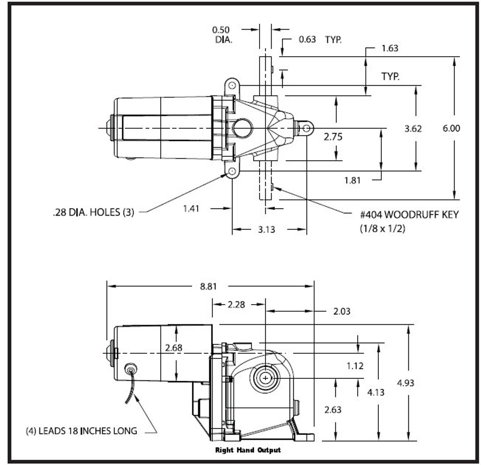 Dayton Model 1LPZ4 AC/DC Left Hand Gearmotor 90 RPM 1/15