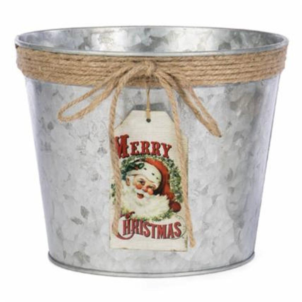 Merry Christmas Galvanized Planter Tin