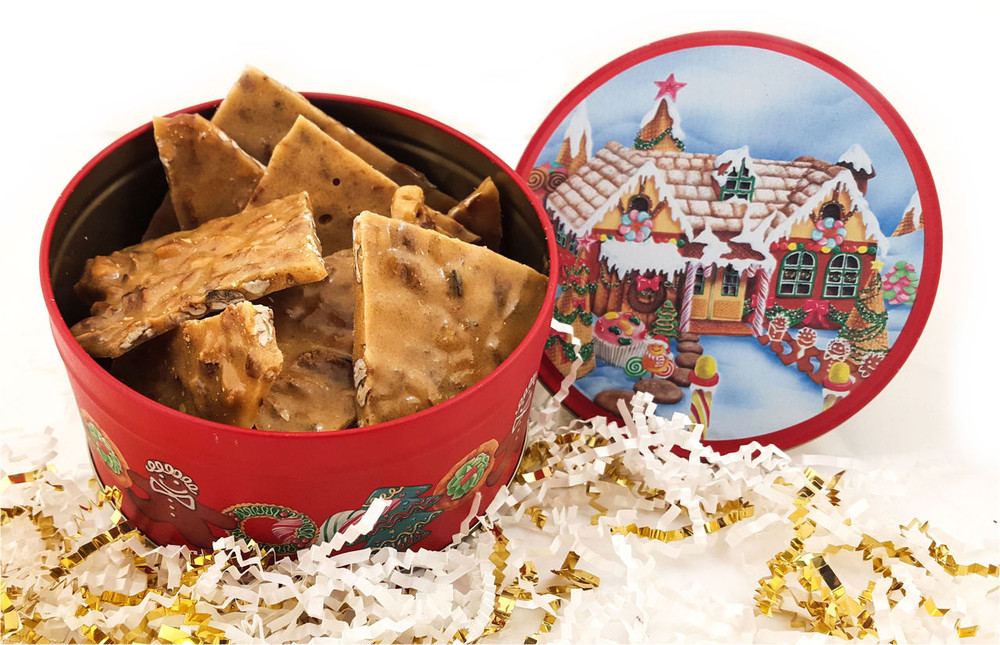 Brittle in Christmas Tin - One Half Pound