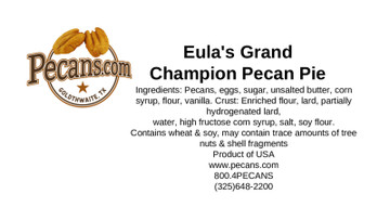 Aunt Eula's Grand Champion Pecan Pie