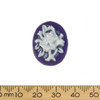 24mm Purple/White Rose Resin Oval Cameo