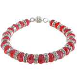 Red Diamante Rondelle Bracelet: Project Instructions