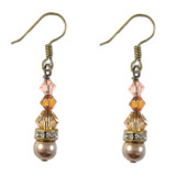 Brown Crystal & Pearl Earrings: Project Instructions