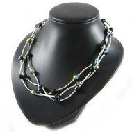 Black/Silver Twist Tube Necklace: Project Instructions