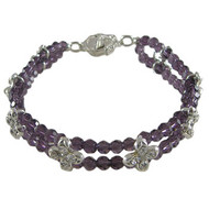 2 Strand Purple/Black Flower Bracelet: Project Instructions