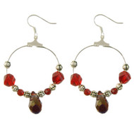 Red Crystal Hoop Earrings: Project Instructions