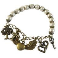 Bronze & Cream Pearl Elastic Bracelet: Project Instructions