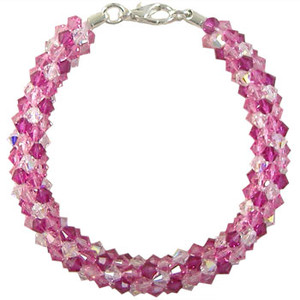 Pattern: Swarovski Pink Blush Beaded Round Kumihimo Braid